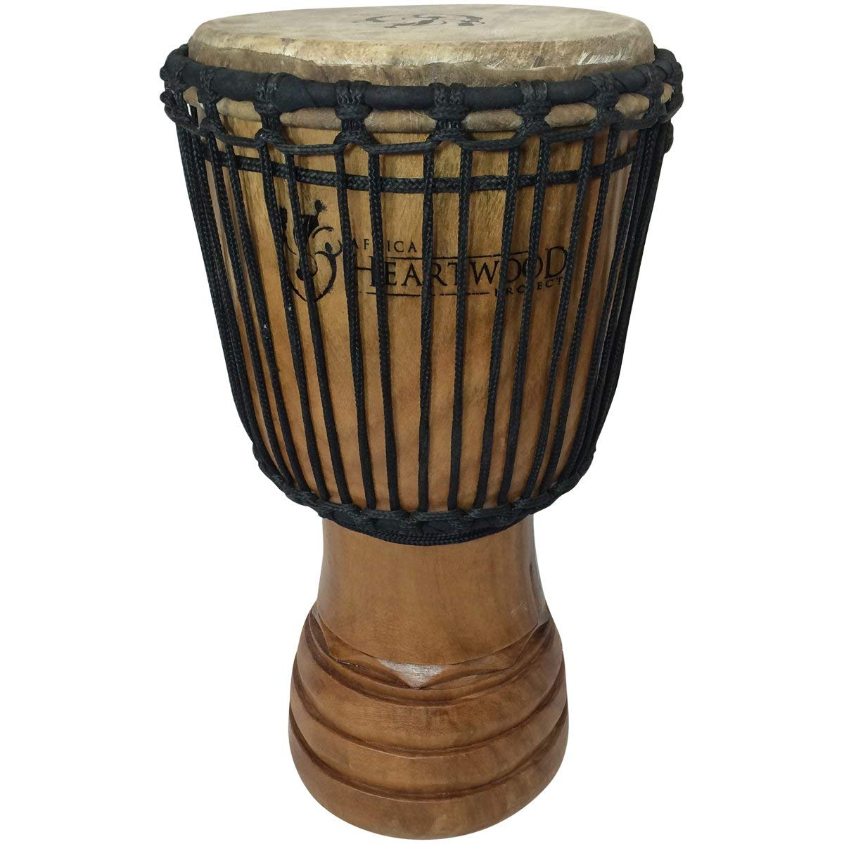 Classic Heartwood Djembe Drum - 9''x 18'', Hand-carved, Solid-wood, Goat-skin, from Ghana
