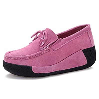 818d03a8913 Eagsouni Women s Comfortable Trainers Slip On Platform Sneaker Ladies Suede  Leather Toning Rocker Shoes Lightweight Wedge Walking Shoes  Amazon.co.uk   Shoes ...