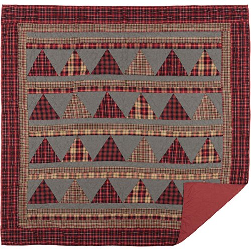 VHC Brands Chili Pepper Rustic & Lodge Seasonal Bedding Andes Quilt, Queen, Red ()