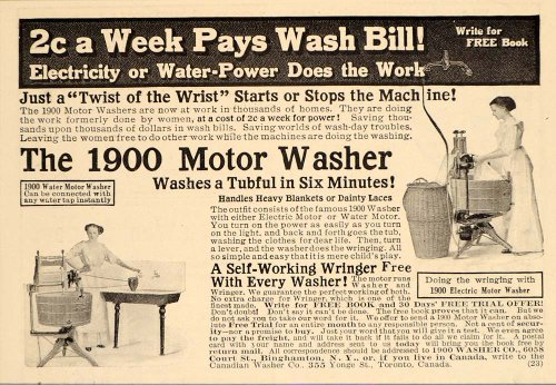 Amazon 1913 Vintage Ad 1900 Motor Washing Machine Washer Wash