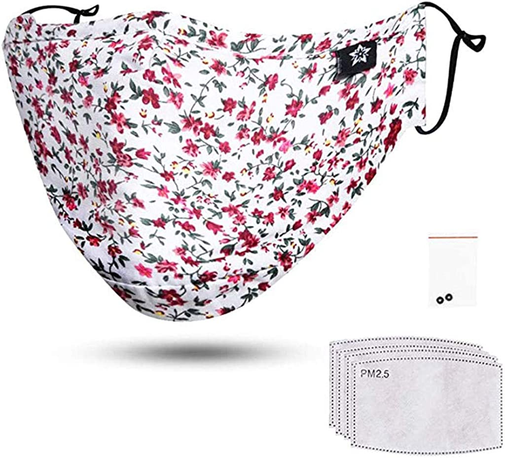 Classic Floral Print Cotton Covering for Women Fashion Face Covering with Filters for Daily Use