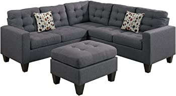 Poundex Bobkona Norton Linen-Like 4 Piece Sectional with Ottoman Set