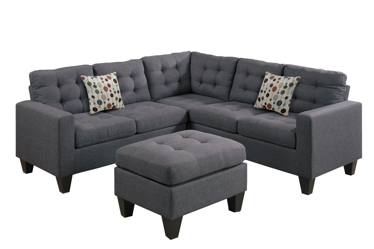Poundex Bobkona Sectional Sofa And Ottoman Set Infosofa Co
