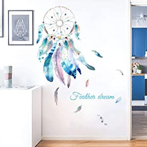 Dream Catcher Wall Decals Colourful Feather Wall Stickers Peel and Stick Removable Art Murals for Bedroom Kids Room Nursery Living Room Office Home Decoration(Feather)