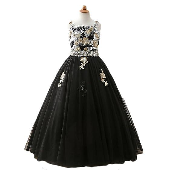 Amazon.com: Vicokity Sequins Appliques Flower Girl Dresses ...