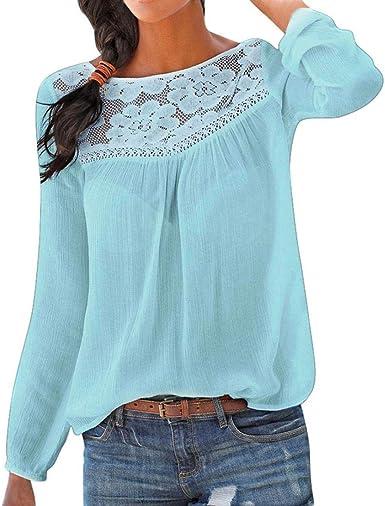 Mujer Camiseta Elegante Hombros Blusa Mangas Large Encaje Cuello Redondo Fiesta Noche Top: Amazon.es: Ropa y accesorios