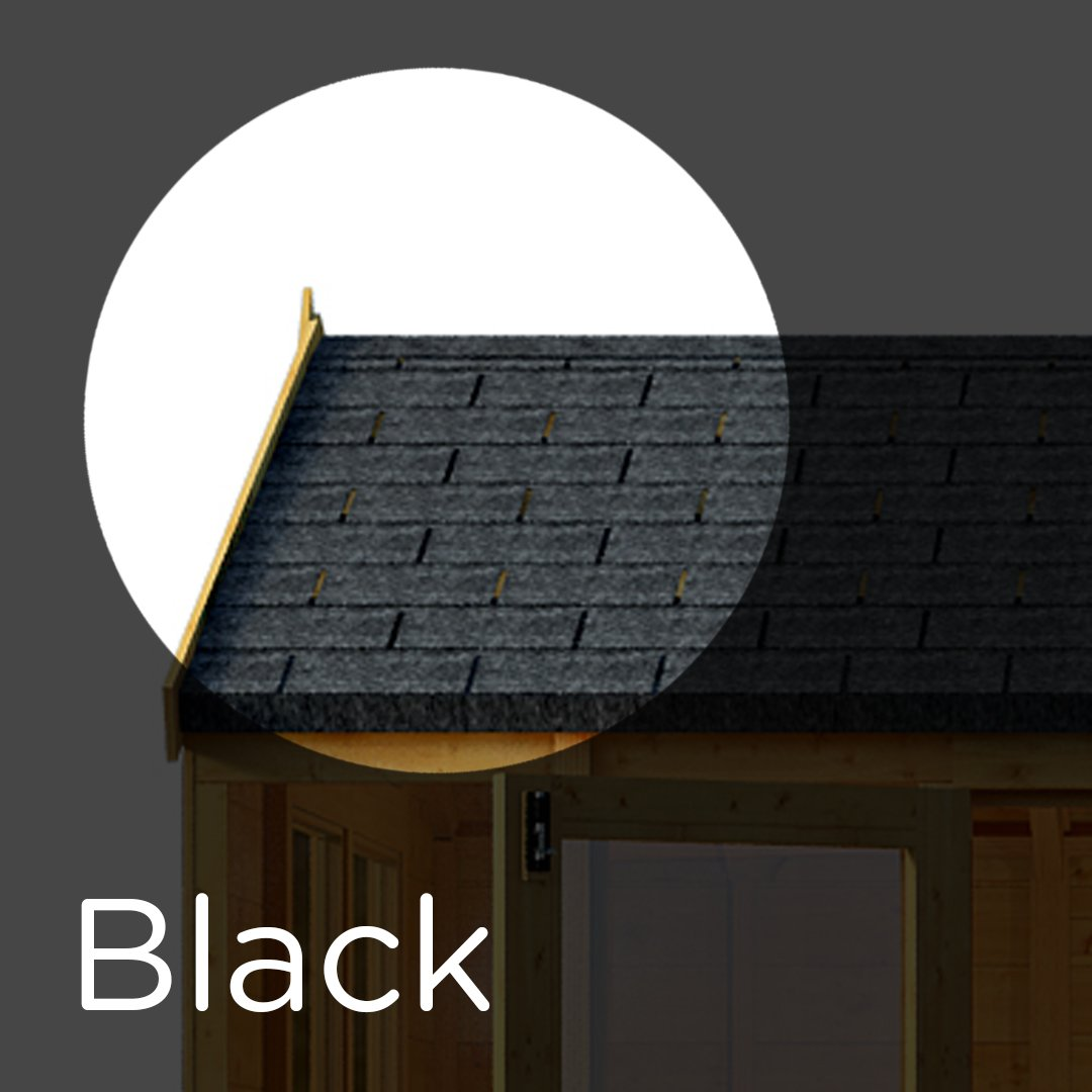 3 m² Asphalt Roof Felt Tiles - Shingles for Sheds, Log Cabins & Summerhouses (Black) IKO 17489