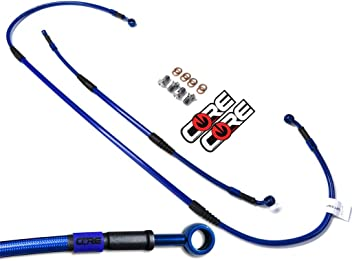 Core Moto Carbon Look Lines Blue banjos Blue Logo Tags Suzuki SV1000S 2003-2007 Performance Brake lines Front and Rear Combo