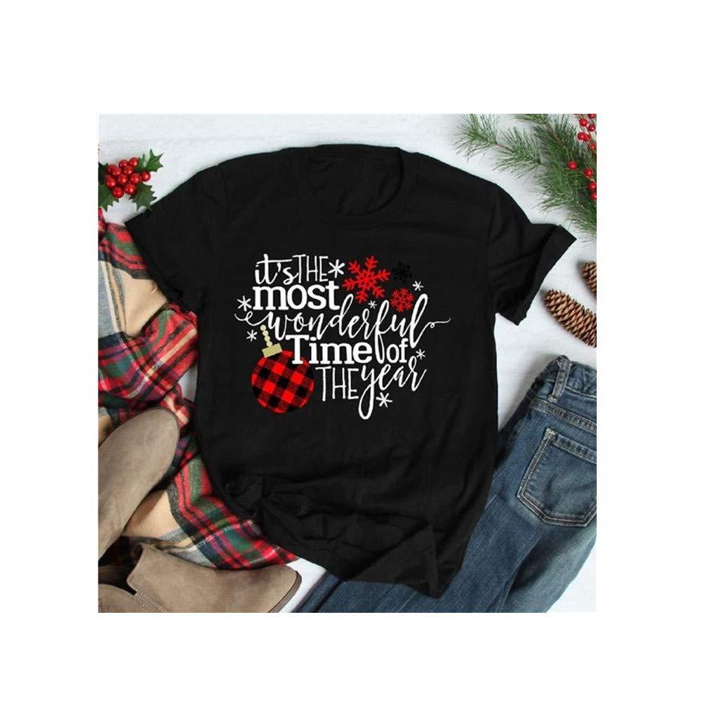 DRAGONHOO Women Fashion Christmas T-Shirt Casual Short Sleeve Letter Printed Tops (S, Black) by DRAGONHOO