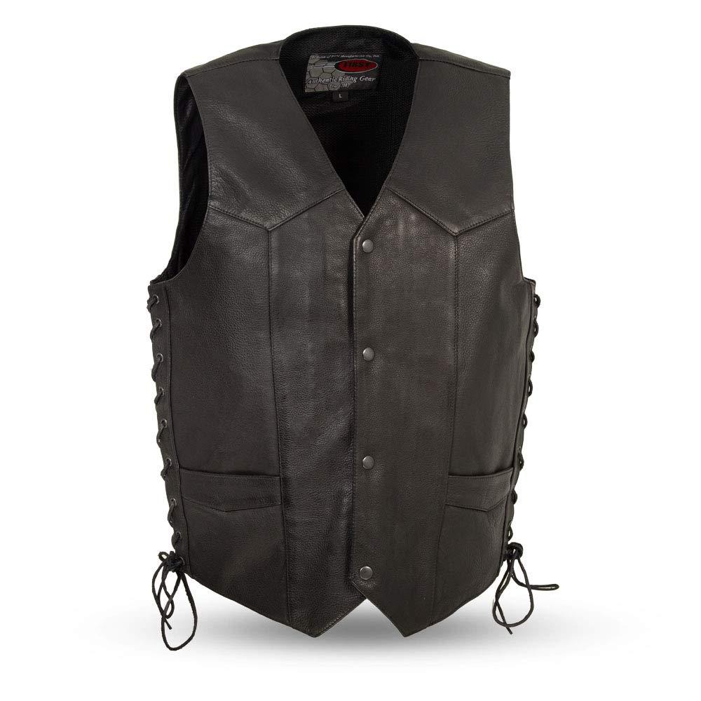 First Mfg Co Men's Side Lace Leather Vest (Black, 4X-Large)
