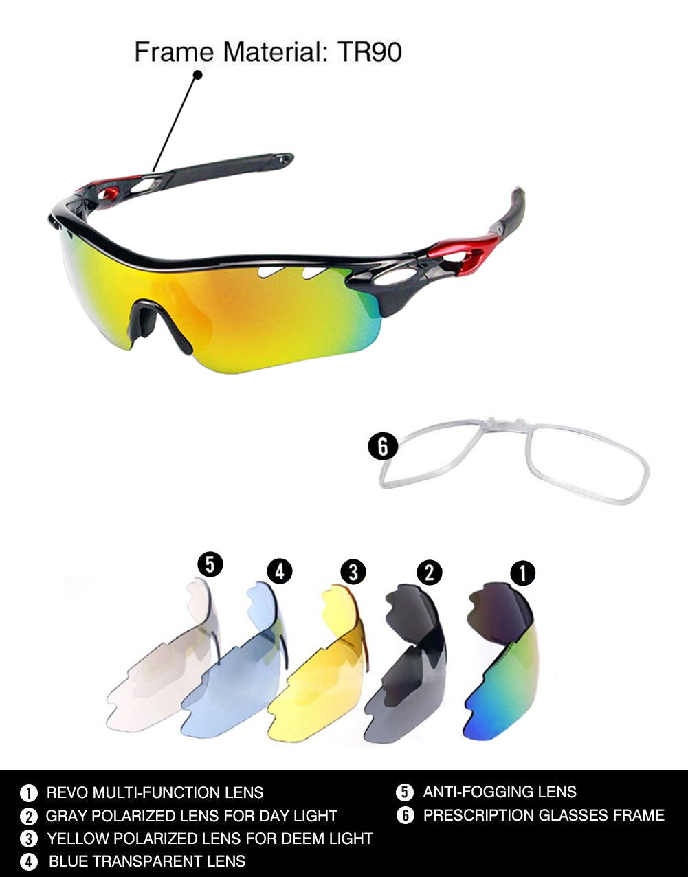 Gafas de sol deportivas Ciclismo gafas con 5 lentes intercambiables, negro: Amazon.es: Deportes y aire libre