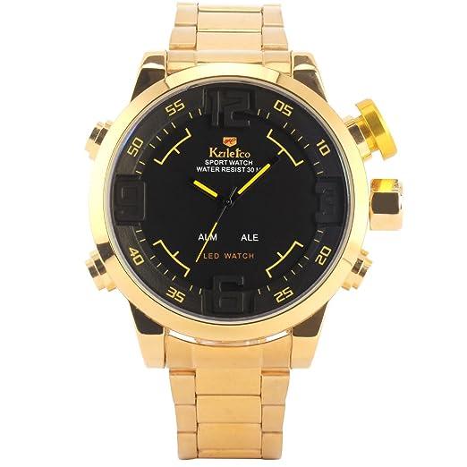xlordx Hombre Reloj de pulsera Fecha Digital Analog 3 ATM resistente al agua Sports Relojes Oro Acero Inoxidable Oro: Amazon.es: Relojes