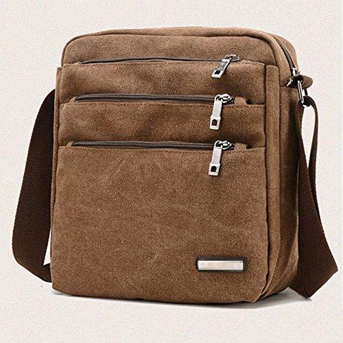 Crossbody Shoulder Multi Bag Casual Pocket Travel Satchel Messenger Zipped Vintage Men's Coffee Business Canvas gq1ERnqPY
