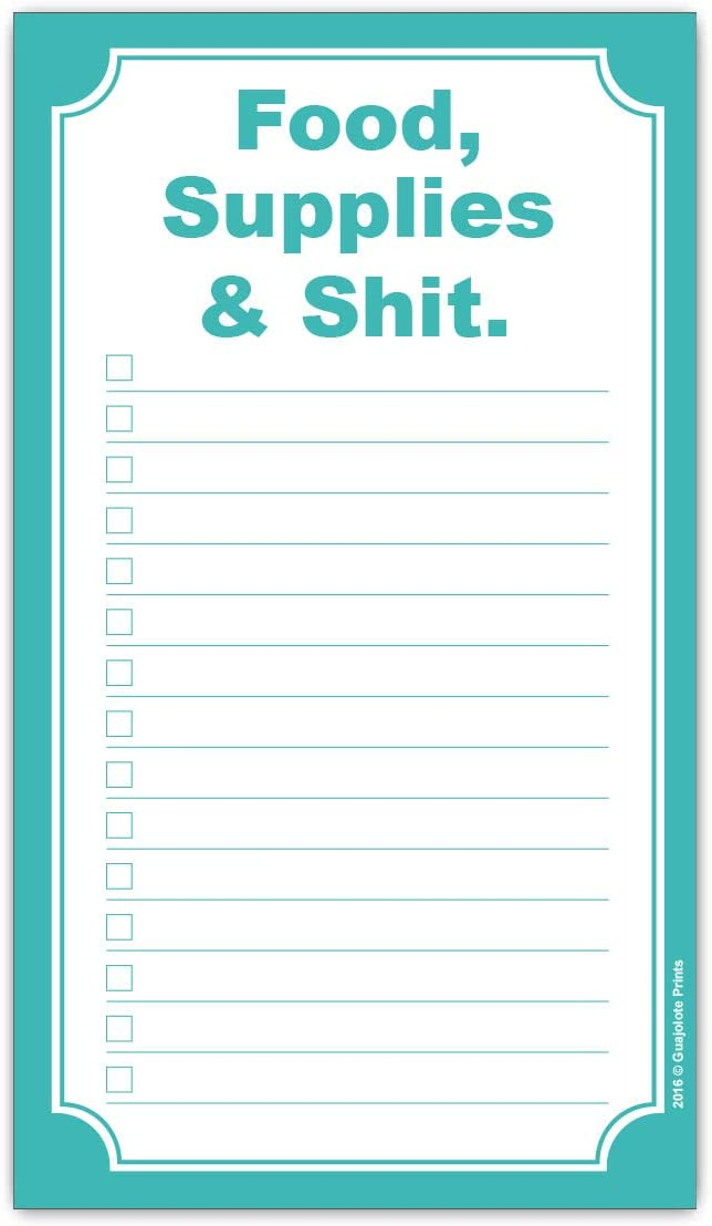 Grocery List Magnet Pad - Funny Food Supplies and Shit - Shopping List Magnetic Pad - To Do Meal Planner