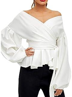 2f52a9099700 Fashiomo Women s Sexy Off Shoulder Wrap Shirt Tie Waist Lantern Sleeve Top  Plus Blouse