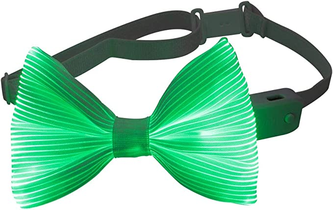 Light Up Bow Tie 7 Glow Colors LED Bowties - 1clienic 2019 Upgrade USB Rechargeable White Fiber Optic Glow Neck Tie Christmas New Year Halloween ...