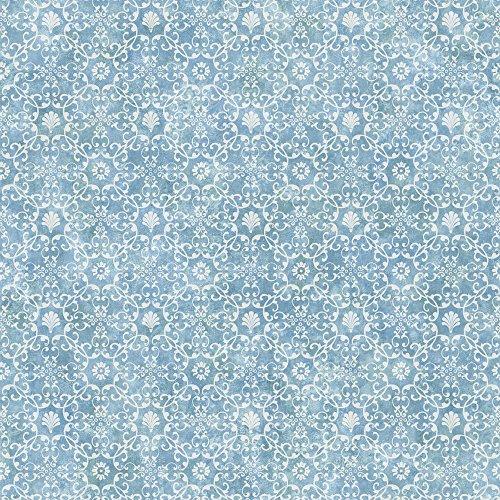 Chesapeake DLR54651 Shell Bay Blue Scallop Damask Wallpaper