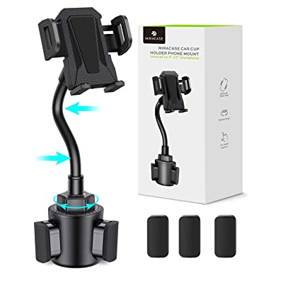 Car Cup Holder Phone Mount Upgraded Miracase Adjustable Universal Cup Holder Cradle Car Mount for Cell Phone Compatible with iPhone Xs XS Max XR X 8 8plus 7 7 Plus Samsung Galaxy S9 S8 S7(Black)