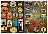 Vooseyhome 2 Full Sheets of World Famous Tourism Attaraction Country & Regions Logo Waterproof Stickers - Idea for Luggage Skateboard Laptop Luggage Suitcase Book Covers etc