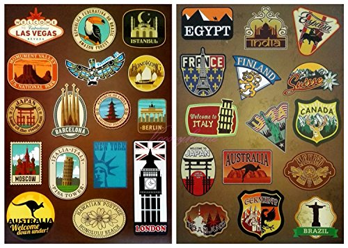 Price comparison product image Vooseyhome 2 Full Sheets of World Famous Tourism Attaraction Country & Regions Logo Waterproof Stickers - Idea for Luggage Skateboard Laptop Luggage Suitcase Book Covers etc