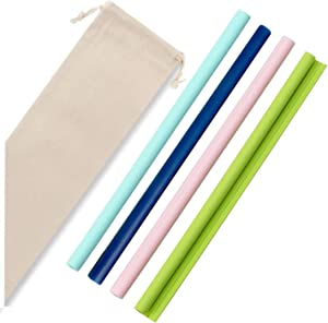Reusable Straws 4Pack-Jaisie.W Silicone Straws, Food-Grade Drinking Straws, BPA Free, Snap Straw-Openable Design, NO BRUSH NEEDED, Hot and Cold Compatible, Set of 4