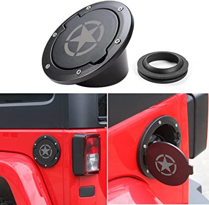 For 2007-2016 Jeep Wrangler JK 2//4 Door Fuel Tank Filler Gas Cover Cap Flag USA