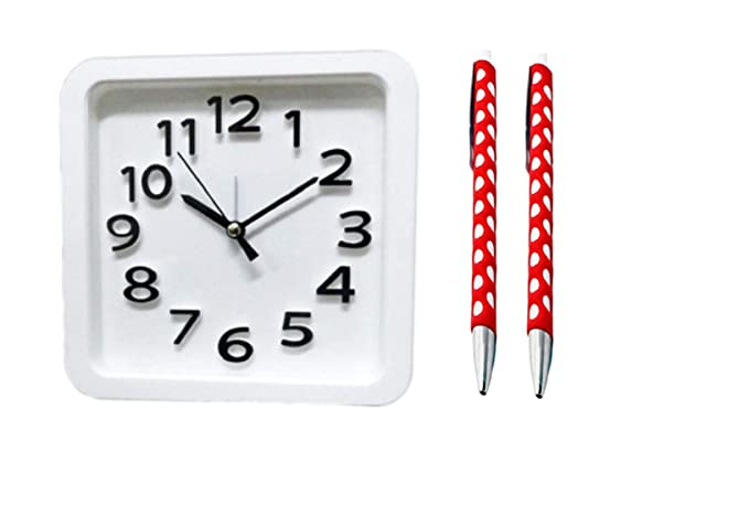 e71829a8a Buy Tuelip Combo of Analog Square White Clock with Free 2 Webbing Circle  Grip Ball Pen Online at Low Prices in India - Amazon.in