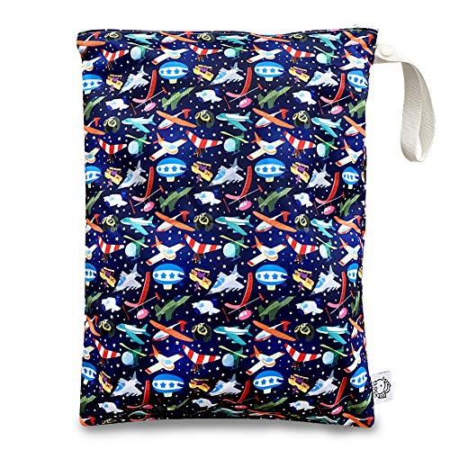 FLOCK THREE Washable and Reusable Wet Bag, Diaper Bag, Water Resistant Swimming Bag, Travel Toiletries Pouch, Yoga Gym Bag, Cat, 1 Pcse 12.6'' x 16.5''
