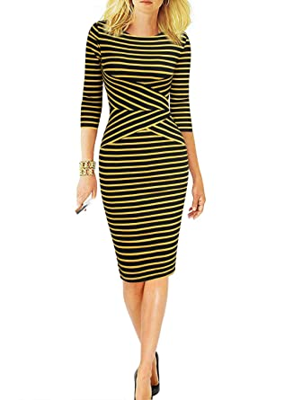 9004ccaabe REPHYLLIS Women 3 4 Sleeve Striped Wear to Work Business Cocktail Pencil  Dress S Yellow