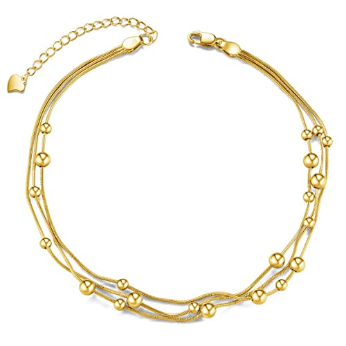 Jewelry & Watches Women Gold Metal Boot Chain Links Anklet Bracelet Shoe White Beads Charm Jewelry To Enjoy High Reputation At Home And Abroad