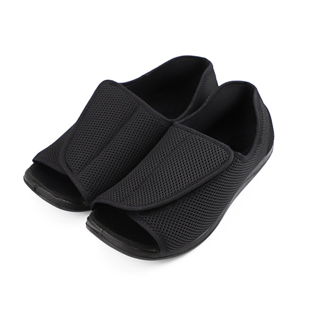 Mens Extra Wide Open Toes Sandals Adjustable Diabetic Edema Orthopedic Arthritis Shoes Slippers (11.5 M US) Black by Liusuper