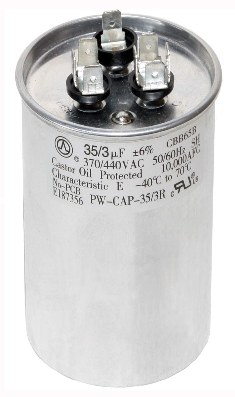 PowerWell 35+3 MFD uf Micro Farad 370 or 440 Volt Dual Run Round Capacitor PW-CAP-35/3/370-440R for Condenser Straight Cool or Heat Pump Air Conditioner