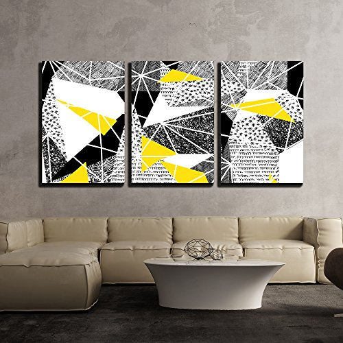 "Wall26 - 3 Piece Canvas Wall Art - Vector - Geometric Seamless Pattern in Retro Style - Modern Home Decor Stretched and Framed Ready to Hang - 24""x36""x3 Panels"
