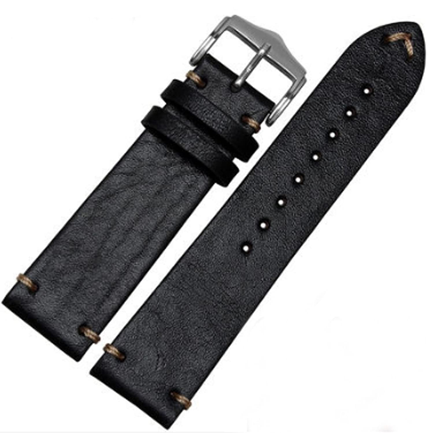 クラシックヴィンテージLeather Watch Band Strap for OMEGAまたはRolex 5513 1675 6542 1680 1803 Submariner GMT 20mm ブラック  ブラック 20mm B078N35LY1