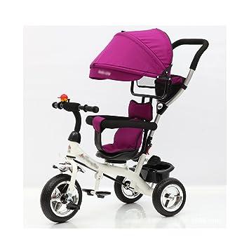 Triciclos Infantil Bicicleta para niños Carritos para bebés Bicicletas, correpasillos (Color : Purple)