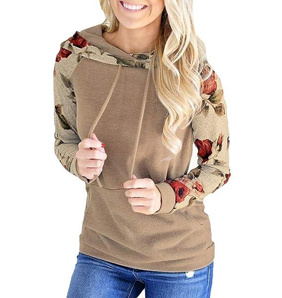 Primavera Otoño Mujeres Sudaderas Joven Moda Tops de Manga Larga Sweatshirt Jerséis con Capucha Casual Impresión Costura Pulóver Blusa Jerseys Hoodie ...