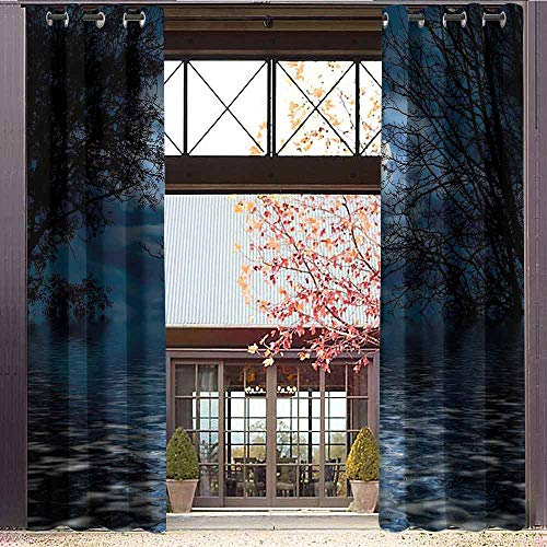 hengshu Night Sky Room Darkened Insulation Grommet Curtain Witchcraft Spell Ceremony Atmosphere Forest Full Moon Branches Image Living Room W84 x L84 Inch Light Blue and Black (Grommet Spell)