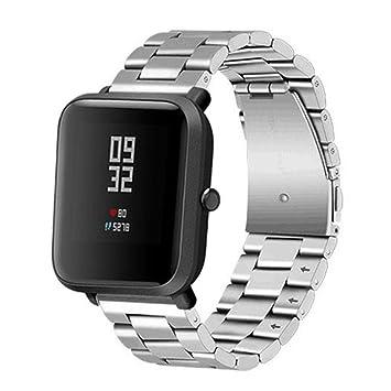 Reloj de pulsera de acero inoxidable de 175 mm, para Xiaomi Huami Amazfit Bip, color plata: Amazon.es: Deportes y aire libre