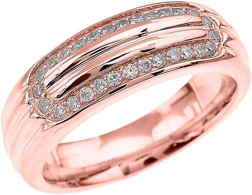 Men S 10k Rose Gold Diamond Ribbed Stripe Design Comfort Fit Wedding Band Ring Amazon Com