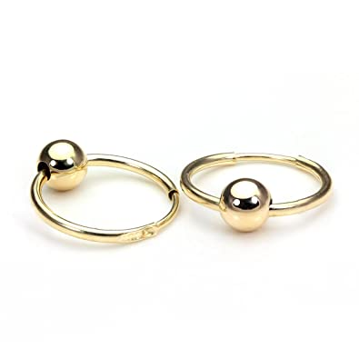 9ct Gold 14mm Sleeper Hoop Earrings with Ball Sleepers Hoops