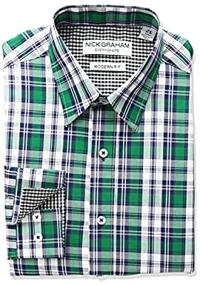 Nick Graham Everywhere Men's Classic Fit Tartan Plaid Dress Shirt