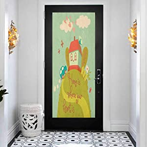 3D Self-Adhesive Stained Glass Window Door Murals Sticker, Home Sweet Home Home is Where Your Heart is Inspiratio, Vinyl Removable Decals for Home Decorative, W23.6 x L78.7 Inch