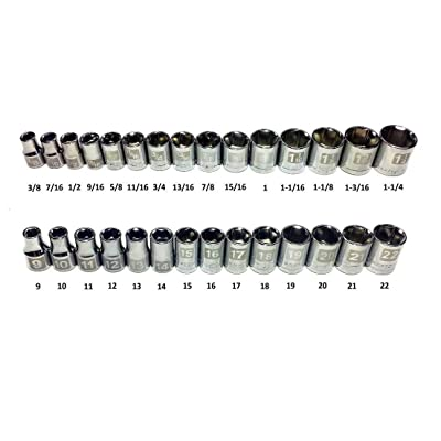 "Craftsman Laser Etched Easy Read 29 Piece SAE Standard & Metric MM 1/2"" Drive 6 Point Shallow Socket Set"