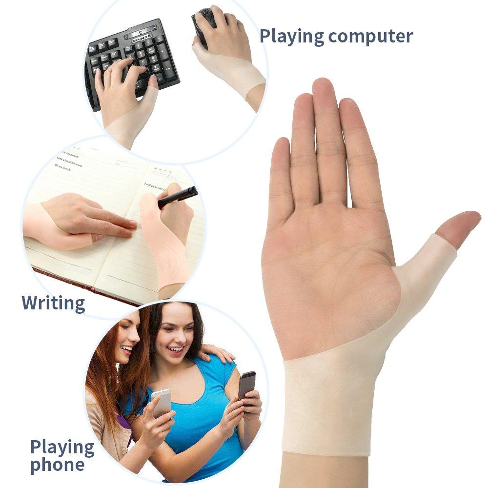 Small, White Espfree Mu/ñeca Brace Mangas Silicona Gel mu/ñeca Orthotics Protector para t/únel carpiano Achilles tendonitis Manos Protectores para computadoras Trabajo y Ejercicio