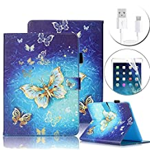 Galaxy Tab E 9.6 Case, Bonice Premium Pattern Leather Stand Folio Wallet Protective Cover for Samsung Galaxy Tab E 9.6 (SM-T560 / T561 / T565 & SM-T567V Verizon 4G LTE Version) - Gold Butterfly