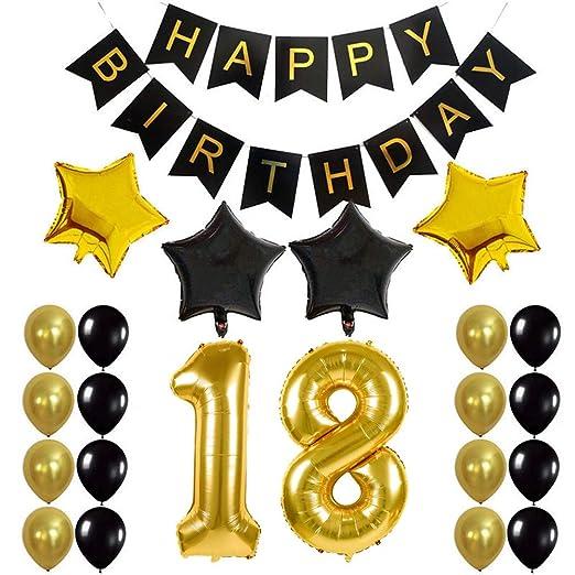 Crazy-M Deco cumpleaños número 18 Set de Globos de ...