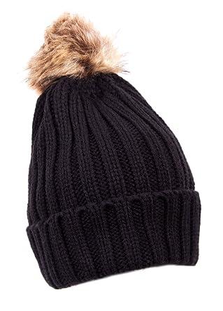 IMTD Designer Celebrity Ladies Womens Turn Up Winter Warm Bobble Fake Fur  Beanie Ski Pom Pom a4ce66c9384