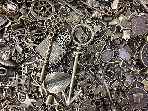 - 30pc Assorted Size Antiqued Bronze Charms, Bails, Jumprings, Cameo Bezel Sett...