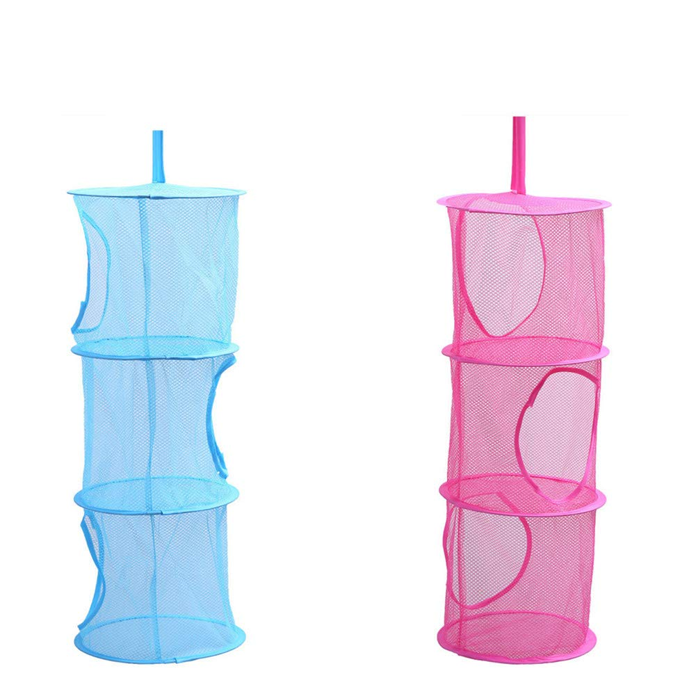 Yamde 2 Pcs Mesh Hanging Storage, Multifunctional 3 Compartments Hanging Mesh Portable Travel Folding Kids Toy Storage Basket Organizer Bags Hanging Clothes Dryer Net Used for Bedroom Wall Closet