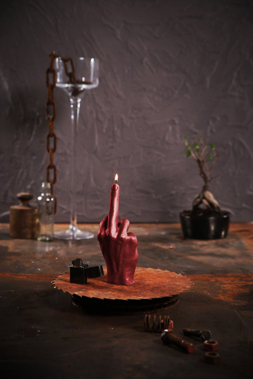 Candellana Candles Candellana- Middle Finger Candle-Red,